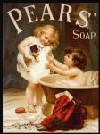 Chic Pears Soap Bath Girl Puppy Metal Steel Sign Plaque